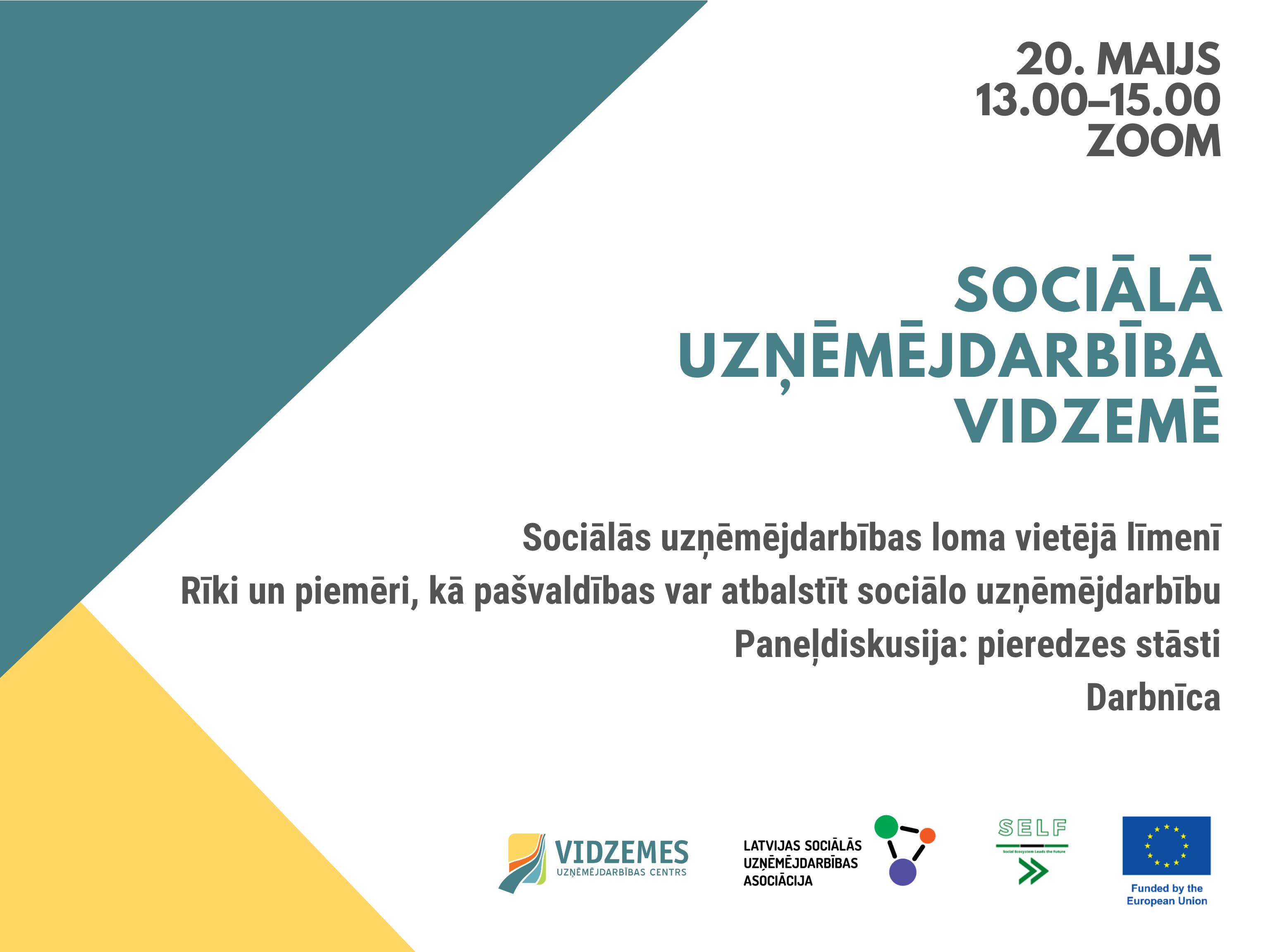 20. maijā seminārs par sociālās uzņēmējdarbības attīstības iespējām Vidzemes pašvaldībās